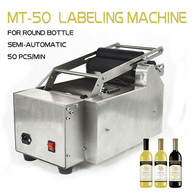 US Stock SEMI-AUTOMATIC ROUND BOTTLE LABELER MT-50 LABELING MACHINE