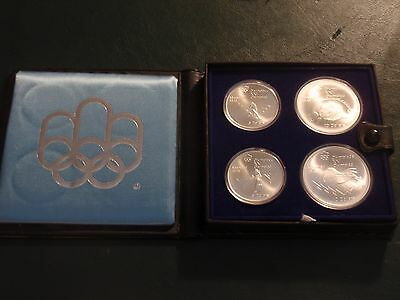Canadian Montreal Olympic 1976 Unc. Seris IV 4.32oz.Silver 4 Coin Set COA & Case