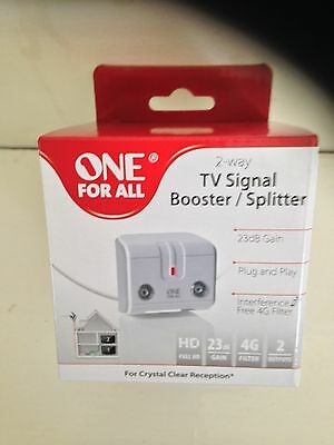 Freeview Digital 4G Ready TV Signal Booster 2 WAY Splitter HD