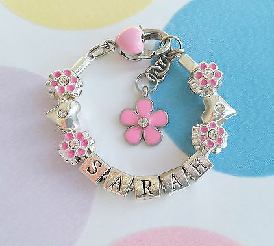 Beautiful Pink Flower and Heart Personalised Silver Plated Name Bracelet.