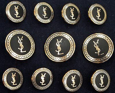 YSL Yves Saint Laurent Gold Metal Blazer Buttons Set