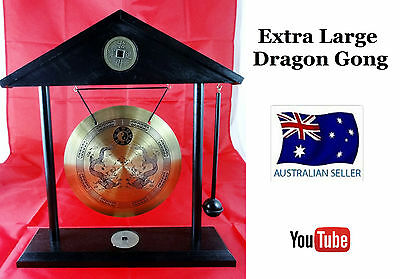 Large Roof Top Chinese Dinner & Decorative Gong Dragon With Stand & Hammer Wl32