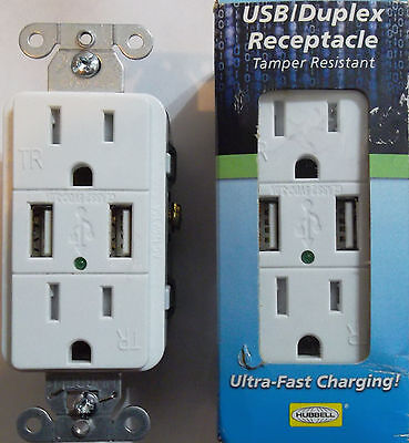 New Hubbell Usb15wz Usb Charger Duplex Receptacle Outlet White 3a 5v