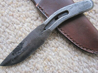 Hand Forged Horseshoe Pony Shoe Hunting Knife Small w/ leather sheath US made