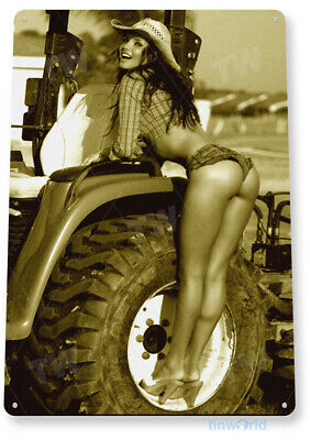 "TIN SIGN ""Farm Girl"" Metal Decor Art Pin-up Cowgirl Tractor Shop Garage A795"