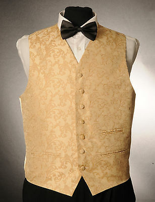 W - 1016. Mens/boys Gold Paisley Waistcoat / Dress/ Suit / Party / Formal