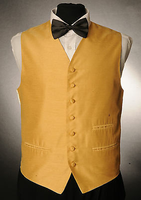W - 1017. Mens/boys Old Gold Waistcoat / Dress/ Suit / Party / Formal