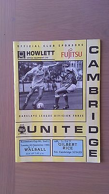 Cambridge United V Walsall 1990-91