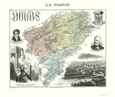 Old France Map - Doubs Region - Migeon 1869 - 23 x 27.23