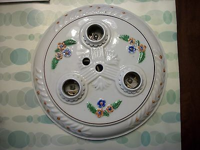 Attractive, Art Deco 1930's - 40's Round Porcelian 3 Light Ceiling Fixture