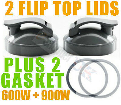 2 x Nutribullet Flip Top Lid To Go with Gasket fits 600 + 900 Cups and Mugs UK