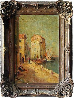 20th Centruy Oil on Canvas Painting of French Port Scene by Dominique Manago