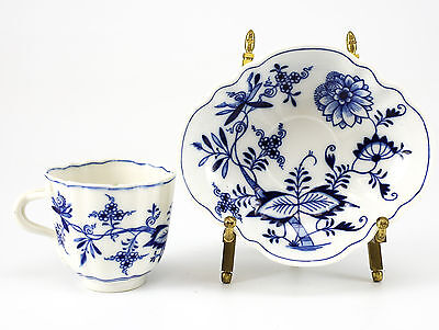 Meissen Hand Painted Blue Onion Cup & Saucer; Blue on White Floral Design