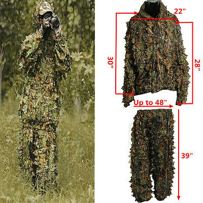 3D Leaf Camouflage Camo Ghillie Suit Set Jungle Forest Hunting Sniper Training