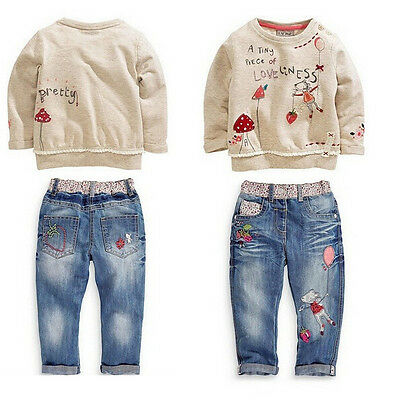 2015 kids baby Girls Tops + Jeans Denim Pants Set Outfits Spring Autumn Clothing