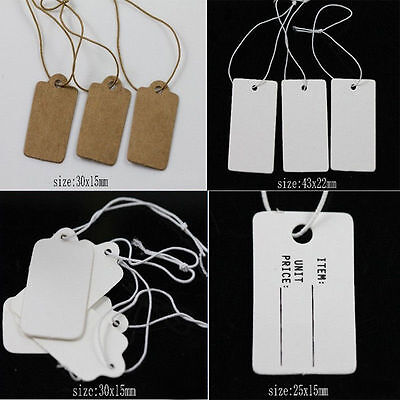 Wholesale Lots Jewelry Label Price Tags Elastic Pre-Strung White Kraft Paper