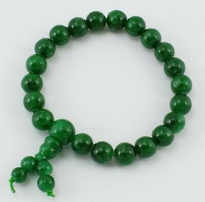 Buddhist  Mala Green Jade Natural Gemstone 6mm Beads Bracelet (PJBR001-13)