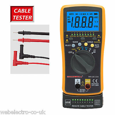 25334 Auto Ranging Digital Multimeter Network USB RJ11 RJ12 RJ45 Cable Tester