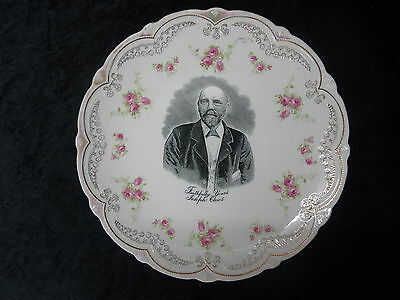 C1890's Commemorative China Plate with Image of a Joseph Clews.