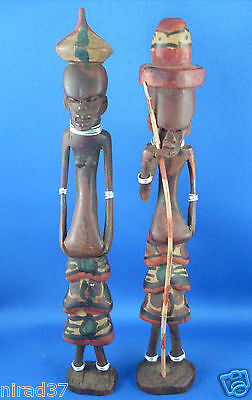 HAND-CARVED African Wooden Man & Woman FIGURINES Man Cave feature - In Australia