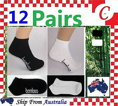 12Prs Men MENS WOMEN Bamboo Low Cut Sport Cushion Ankle SOCKS Odor Resistant