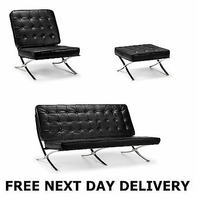 Barcelona Chair, Stool Or 2 Seater Black Bonded Leather