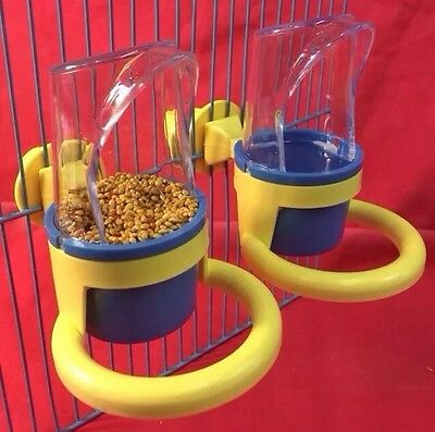Bird Feeder X 2 Food Water Perch Budgie Canary Finch Cockatiel Lovebird Parakeet