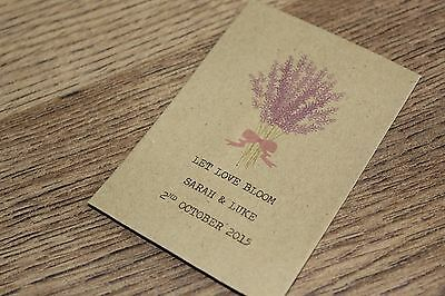 Personalised Seed Packets Envelopes Wedding Favours Vintage Lavender Bunch