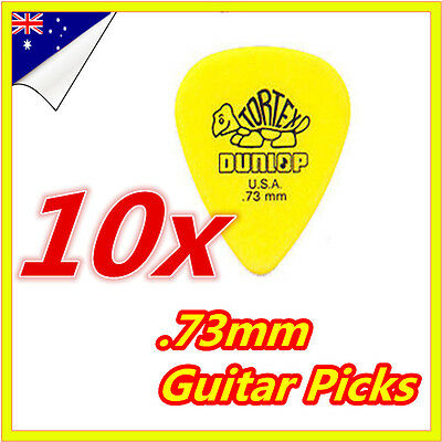 10 x Brand New Jim Dunlop Tortex Standard .73mm Yellow Guitar Picks Plectrums