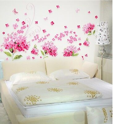 Pink flower Hortensia Removable Wall Sticker girl decal room art decor art mural