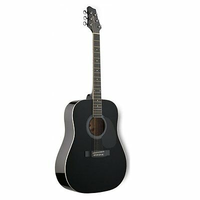 Stagg SW201BK-RH 3/4-Size Dreadnought Right-Handed Acoustic Guitar (Black)