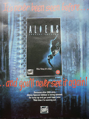 ALIENS # SPECIAL EDITION # VIDEO RELEASE # 12 x 9 inch #