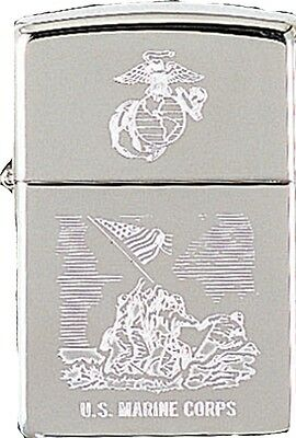 Zippo Chrome US Marines USMC Logo Raising the Flag Lighter