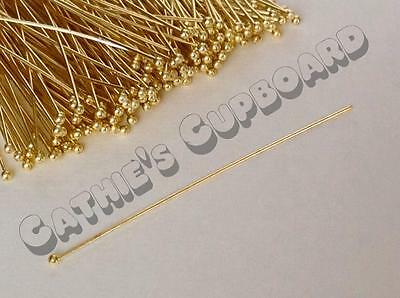 SALE 50 Quality *STRAIGHT* Long Gold Plated Brass Ball Head pins - 60mm x 0.7 mm