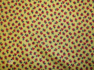 01807-Vintage Polyester Stretch Knit Fabric Yellow-Orange Background Red Floral