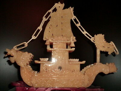 """Very Large Beautiful Carved Yellow Jade Dragon Boat Statue 14.75"""" (Ships Usa)"""