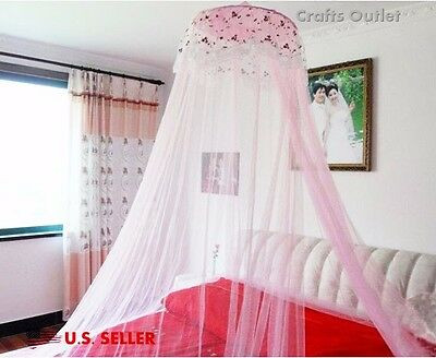 MultiColor Princess Elegant Lace Bed Mosquito Netting Mesh Canopy Round Dome Net