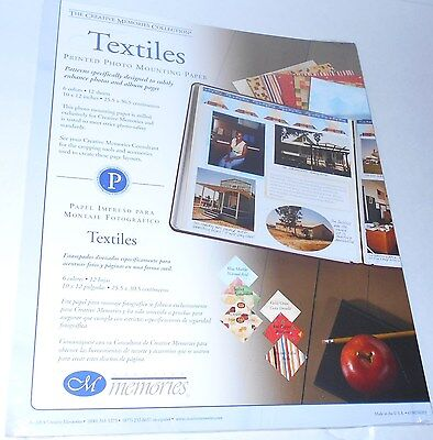 New Creative Memories Textiles Printed Photo Mounting Paper 12 Sheets