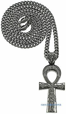 """Ankh Necklace Large Egyptian """"Etched"""" Pendant With 36 Inch 6mm Cuban Chain"""