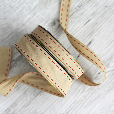 NATURAL COTTON RED STITCH Ribbon by the Metre - choose 15mm or 25mm - 1 metre