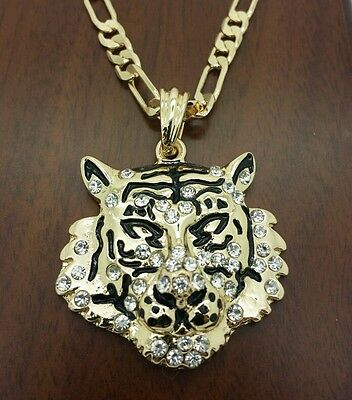 "Men's hip hop 14k gold plated Leopard face pendant  24"" figaro  chain necklace."