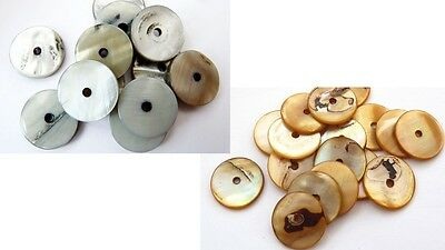 15(mm) SHELL DONUT/SPACER FLAT ROUND DISC BEADS. HOLE: 1.5MM - (20PCS)