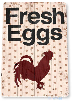 TIN SIGN Fresh Eggs Rooster Metal Décor Chicken Coop Kitchen Cottage Farm A826