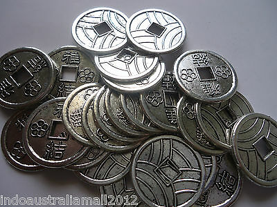 15 X Chinese Fengshui Antique Silver  Coin Beads 19mm Dia (LF1540Y))