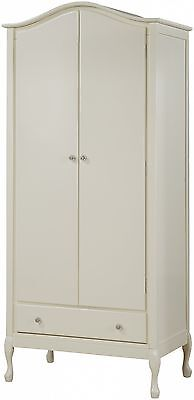 Loire 2 door 1 drawer wardrobe wooden french shabby chic vintage ivory white
