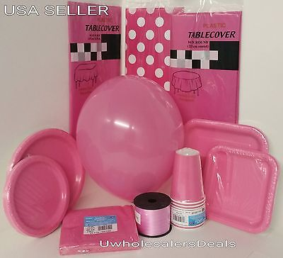 Dark Pink Party Paper Plates Napkins Cup Cutlery Table Covers Balloons Tableware