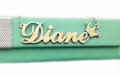 14K Solid Yellow Gold Any Personalized  Name Necklace with Crown