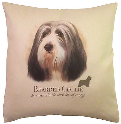 Bearded Collie HR Cotton Cushion Cover - Choose Cream or White Cover - Gift Item