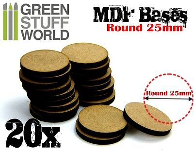 20x MDF Bases - Round 25mm - Thickness 3mm Basing Laser Cut Wargames Miniatures