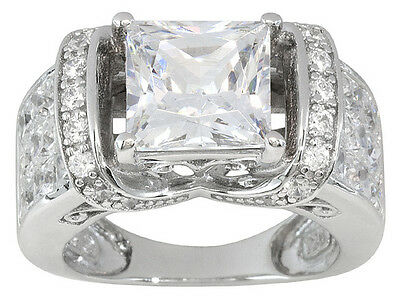Bella Luce (R) 6.73ctw Princess Cut & Round Rhodium Plated Sterling Silver Ring
